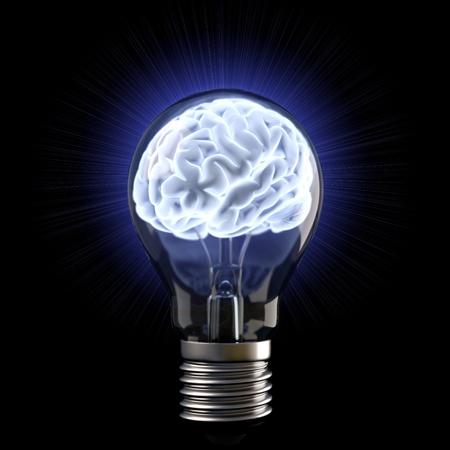mente: en los cerebros de la bombilla. aislado en blanco.