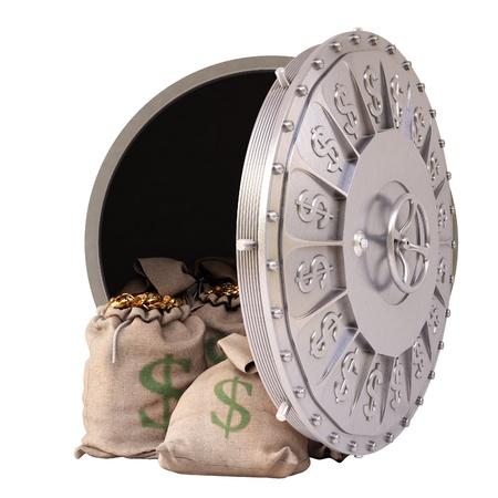 cuenta bancaria: abrir una b�veda de un banco con bolsas de monedas de oro. aislado en blanco. Foto de archivo