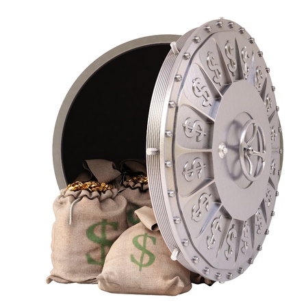 bag of money: open a bank vault with bags of gold coins. isolated on white. Stock Photo