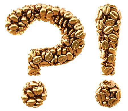 interrogativa: de interrogación y exclamación de los granos de café de oro. aislado en blanco.