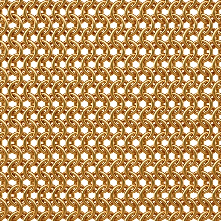 mesh texture: Mail from gold rings. isolated on white.