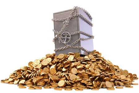 golden coins: steel safe in chains on a pile of gold coins. isolated on white.