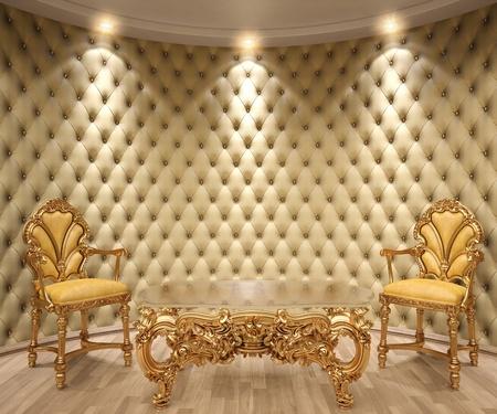 muebles antiguos: lujoso interior con paredes de cuero y muebles clásicos de oro.
