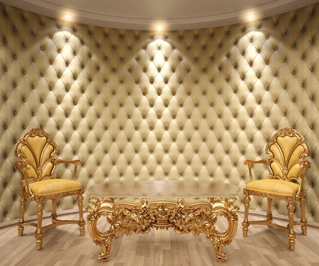 victorian style: luxurious interior with leather walls and classical furniture of gold.