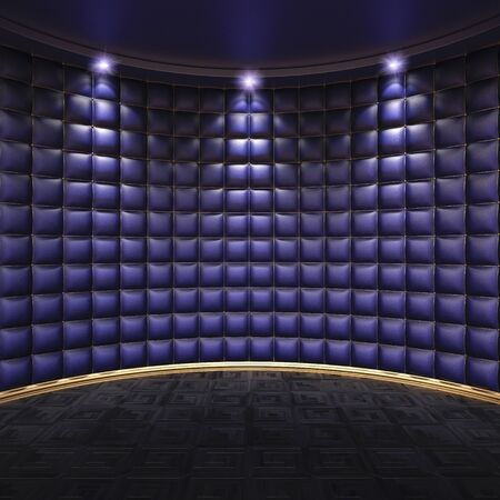 illuminations: luxurious interior with leather walls and wooden parquet.