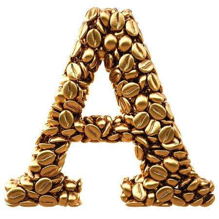 Alphabet of the golden coffee beans. isolated on white. photo