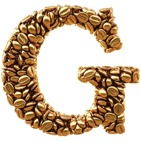 Alphabet of the golden coffee beans. isolated on white. Stock Photo - 12309858