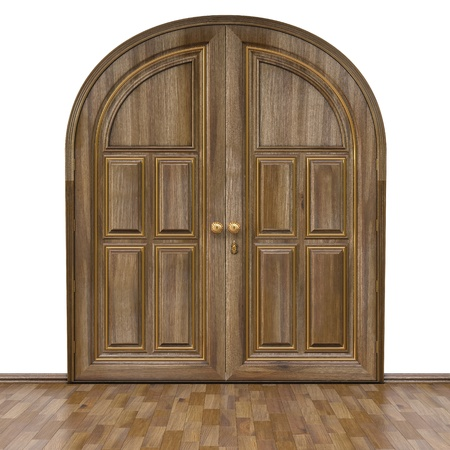 Luxury classic doors and parquet walnut color. Isolated on white. photo