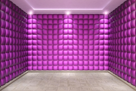 pink interior with leather walls and wooden parquet. photo