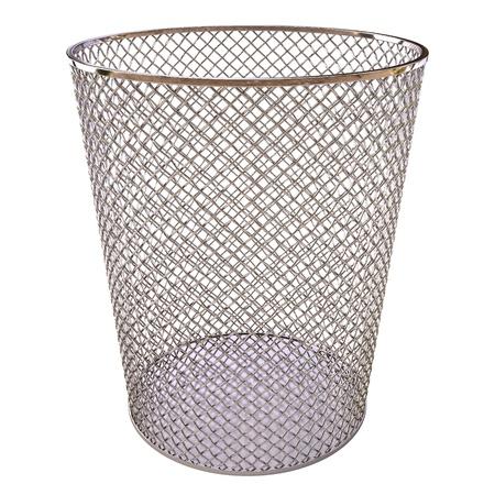 cesto basura: Bin trash metal aisladas sobre fondo blanco.