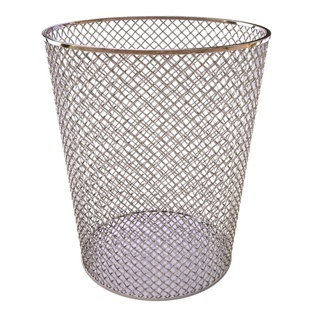 Metal trash bin isolated on white background. photo