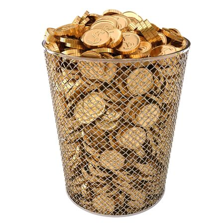 trash bin with gold coins isolated on white background. photo