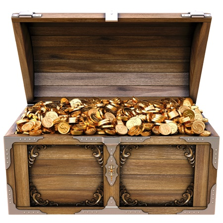 old wooden chest with gold coins. isolated on a white background. Stock Photo - 12769692