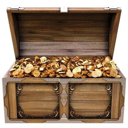 monete antiche: vecchia cassa di legno con le monete d'oro. isolato su uno sfondo bianco. Archivio Fotografico