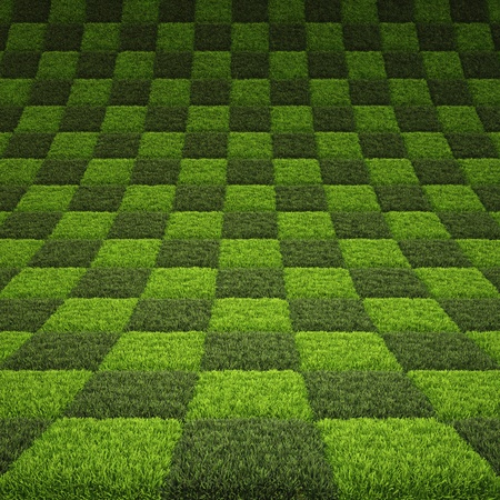 carpet floor: checkerboard background of green grass. Stock Photo