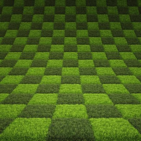 ajedrez: tablero de ajedrez de fondo de la hierba verde.