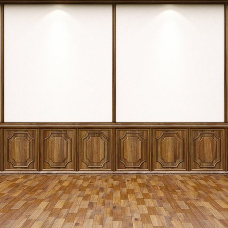 empty interior with parquet flooring and wood paneling. photo