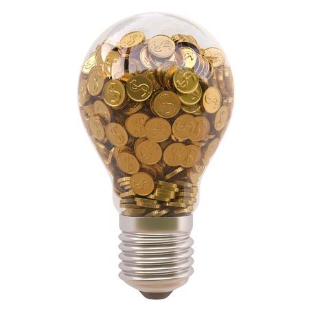 ahorro energia: bombilla de luz con monedas de oro en el interior sobre fondo blanco