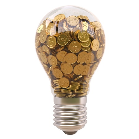 power of savings: light bulb with gold coins inside isolated on white background Stock Photo