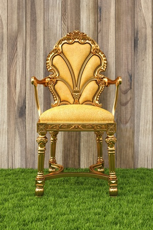 golden chair in the room with grass floor. photo