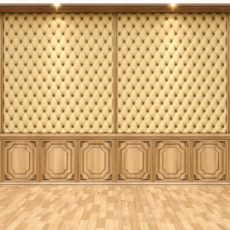 empty interior with leather and wooden wall panels. photo