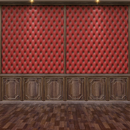 panel: empty interior with leather and wooden wall panels.