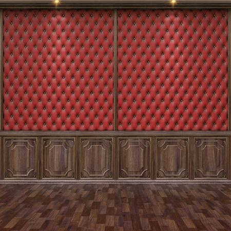 lege interieur met lederen en houten wandpanelen.