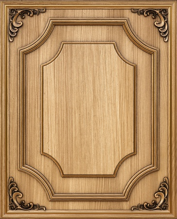 wooden texture: wooden decorative panel with golden frames. Stock Photo