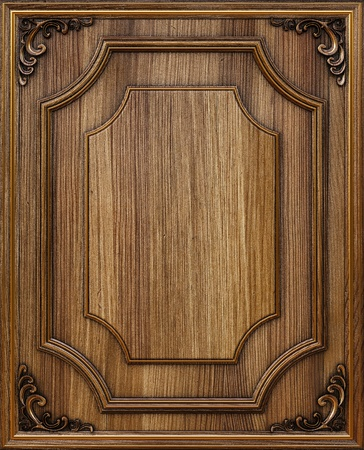 wooden decorative panel with golden frames. Stock Photo