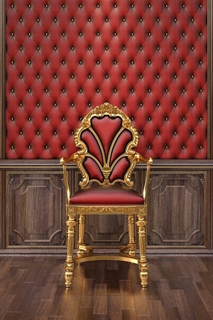 luxurious interior: golden chair in the luxurious interior.