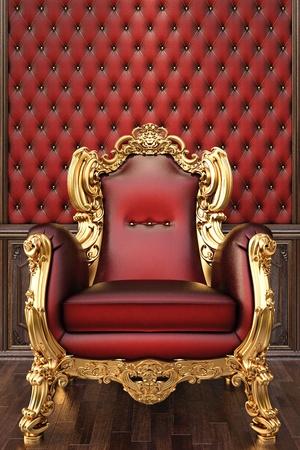 armchair: golden armchair in the luxurious interior.