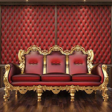 couch: golden sofa in the luxurious interior.