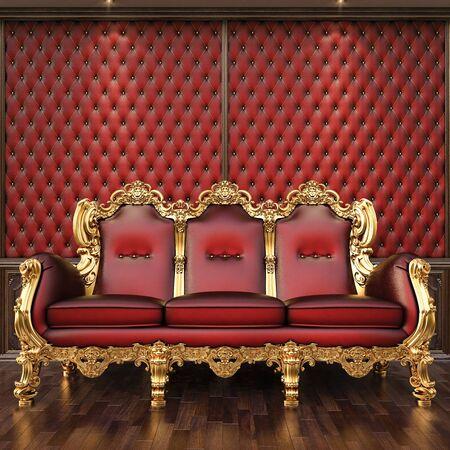 golden sofa in the luxurious interior. Stock Photo - 12769760