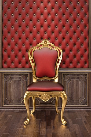 golden chair in the luxurious interior.