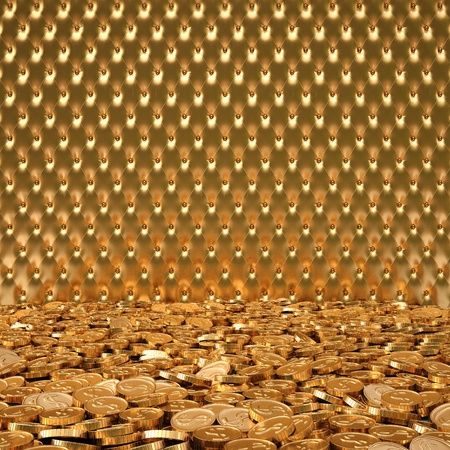 luxurious interior with a golden leather on the wall and gold coins on the floor. photo