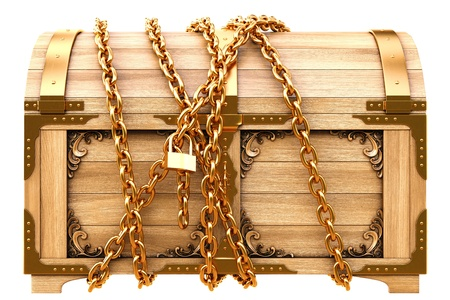 old padlock: old wooden chest in chains isolated on white.
