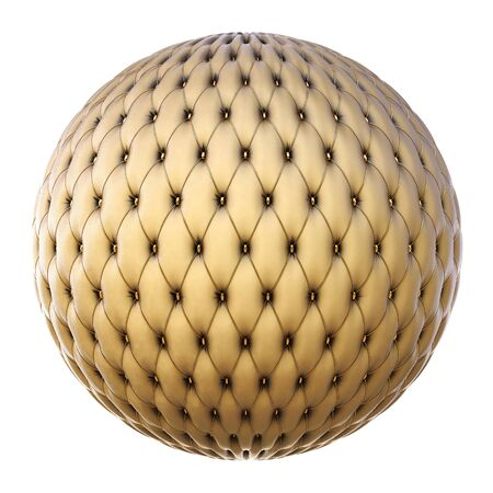 furniture detail: luxurious leather ball with gold buttons.