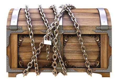 old wooden chest in chains isolated on white. photo