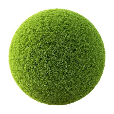 Groen gras bal. Geà ¯ soleerd op wit. Stockfoto