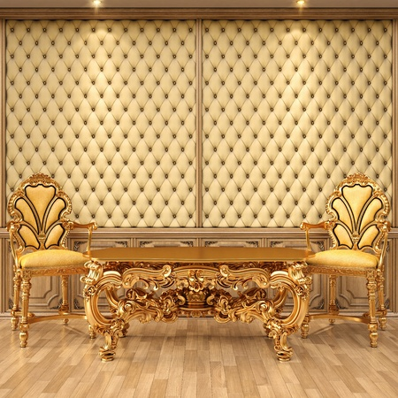 luxurious interior with leather walls and classical furniture of gold. photo