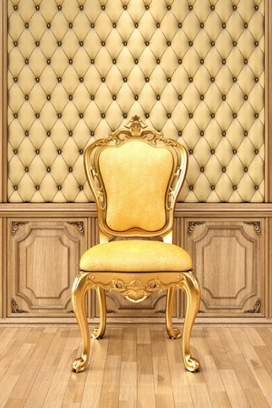 golden chair in the luxurious interior. photo