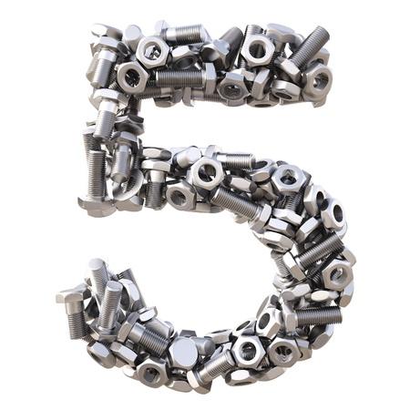 pernos: número de tornillos y tuercas. aislado en blanco. Foto de archivo