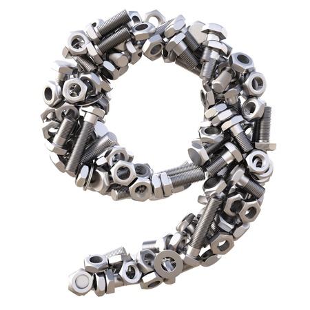 tuercas y tornillos: número de tornillos y tuercas. aislado en blanco. Foto de archivo