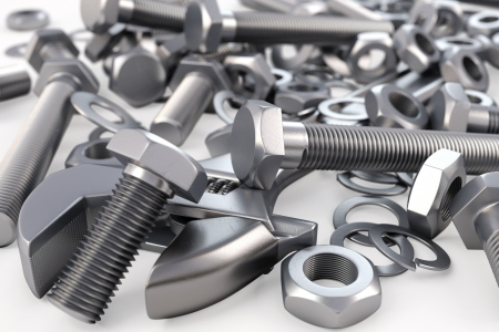 fasteners: bolts and nuts. 3d background.