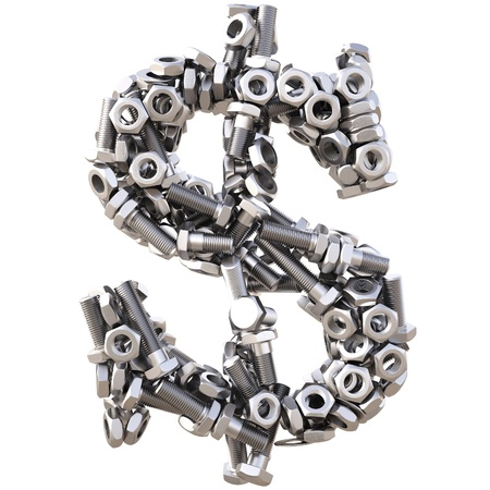 fasteners: dollar sign from nuts and bolts. isolated on white. Stock Photo