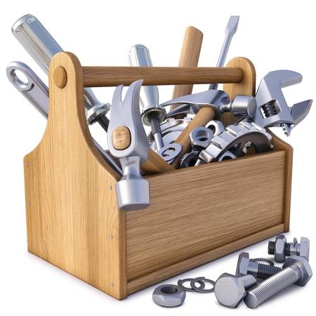 werkzeug: Holz-Werkzeugkiste mit Werkzeug. isoliert auf wei�.