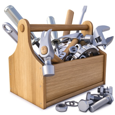houten gereedschapskist met gereedschap. geïsoleerd op wit. Stockfoto