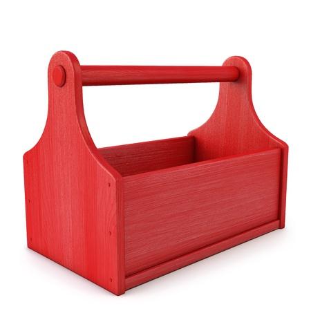 lege houten gereedschapskist. geïsoleerd op wit. Stockfoto
