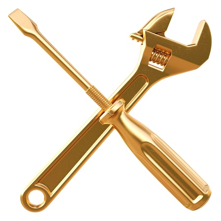 hand wrench: golden wrench and screwdriver. Isolated on white.