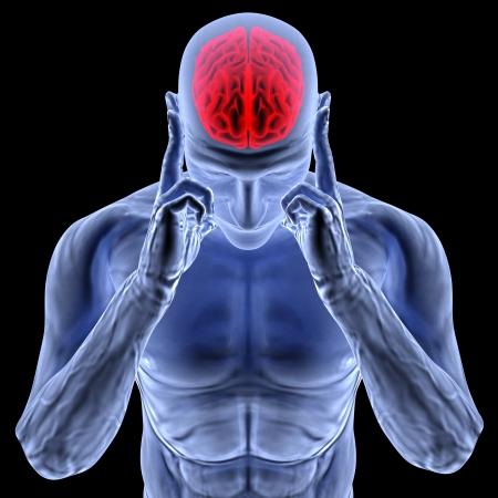 dolor de cabeza: un hombre con un dolor de cabeza en la radiograf�a. Foto de archivo